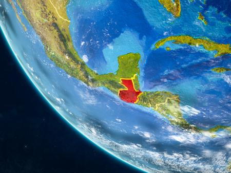 Guatemala on planet Earth from space with country borders. Very fine detail of planet surface and clouds. 3D illustration.