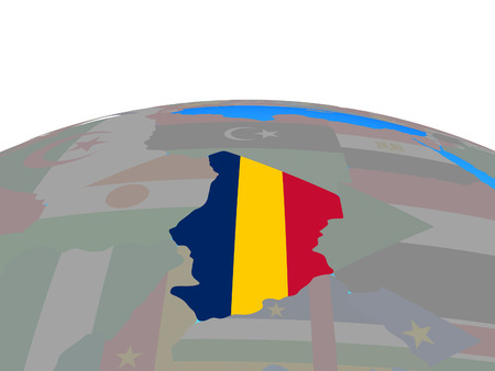 Chad with national flag on political globe. 3D illustration.