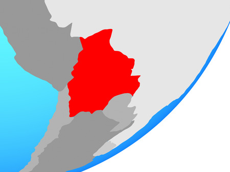 Bolivia on blue political globe. 3D illustration. Reklamní fotografie