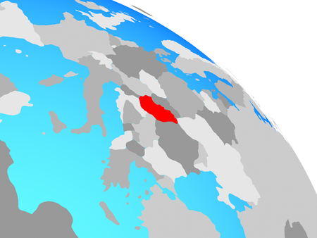 Hungary on simple blue political globe. 3D illustration. Reklamní fotografie