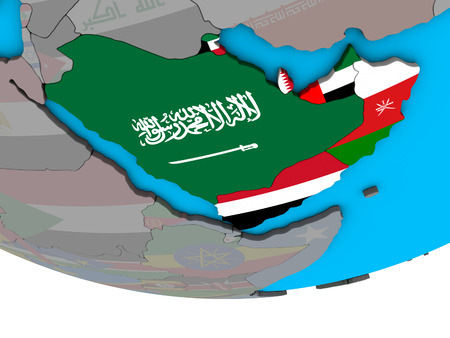 Arabia with embedded national flags on simple political 3D globe. 3D illustration. Stock Photo