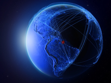 Suriname from space on planet Earth with blue digital network representing international communication, technology and travel. 3D illustration.