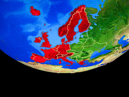Western Europe from space on model of planet Earth with country borders. 3D illustration. Banco de Imagens