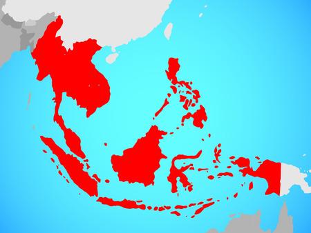 South East Asia on blue political globe. 3D illustration.