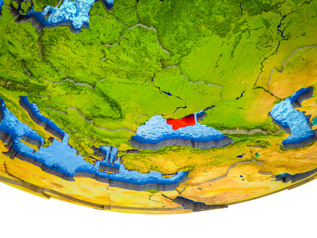 Crimea on 3D Earth with divided countries and watery oceans. 3D illustration.