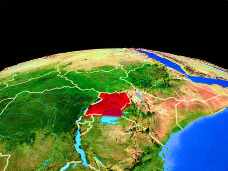 Uganda on model of planet Earth with country borders and very detailed planet surface. 3D illustration. Stockfoto