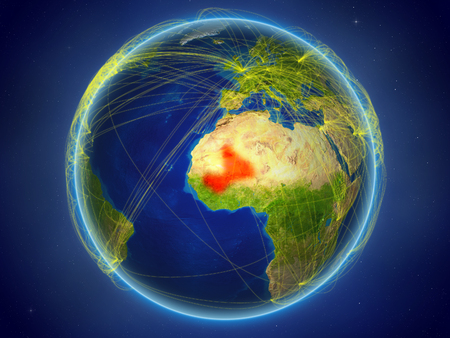 Mali from space on planet Earth with digital network representing international communication, technology and travel. 3D illustration.