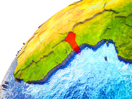 Benin on 3D Earth model with visible country borders. 3D illustration.