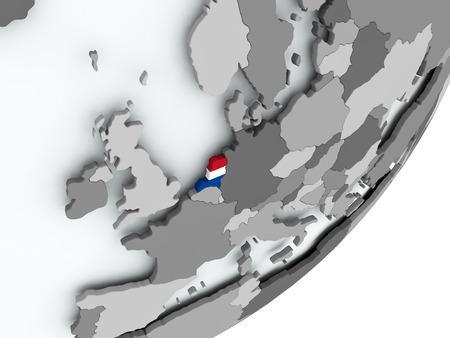 Netherlands on political globe with flag. 3D illustration. Stockfoto