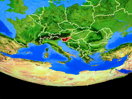 Slovenia from space on model of planet Earth with country borders. 3D illustration. Stock Photo