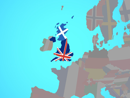 Scotland with national flag on blue political globe. 3D illustration.