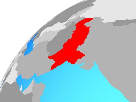 Pakistan on globe. 3D illustration. Фото со стока
