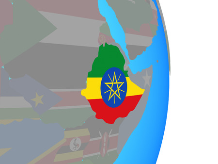 Ethiopia with national flag on simple political globe. 3D illustration.