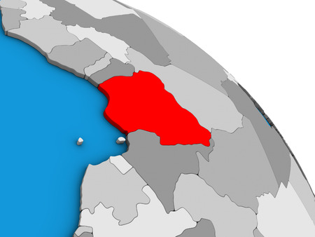 Nigeria on simple blue political 3D globe. 3D illustration.