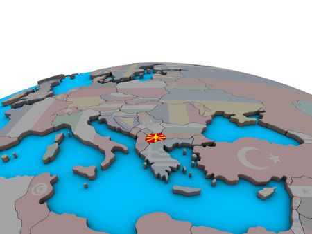 Macedonia with embedded national flag on political 3D globe. 3D illustration. Stockfoto - 112772821