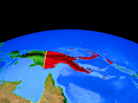 Papua New Guinea on model of planet Earth with country borders and very detailed planet surface. 3D illustration.
