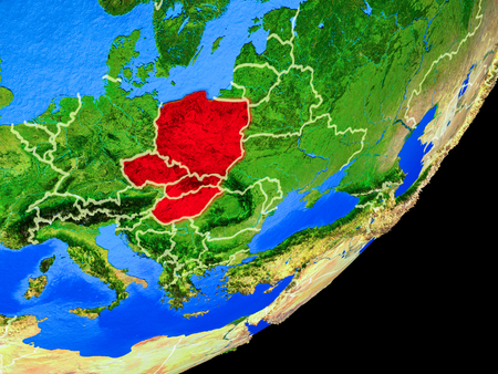 Visegrad Group on planet Earth with country borders and highly detailed planet surface. 3D illustration. Stock Photo