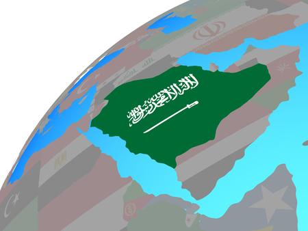 Saudi Arabia with embedded national flag on globe. 3D illustration. Stock Photo