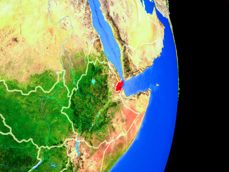 Djibouti on realistic model of planet Earth with country borders and very detailed planet surface. 3D illustration.