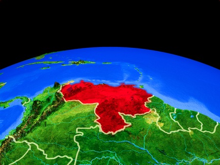 Venezuela on model of planet Earth with country borders and very detailed planet surface. 3D illustration.