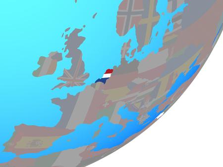 Netherlands with embedded national flag on blue political globe. 3D illustration. Stockfoto