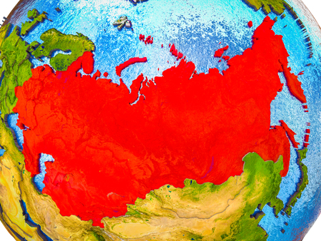Former Soviet Union on model of 3D Earth with blue oceans and divided countries. 3D illustration.