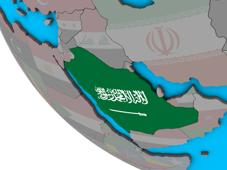 Saudi Arabia with embedded national flag on simple 3D globe. 3D illustration.