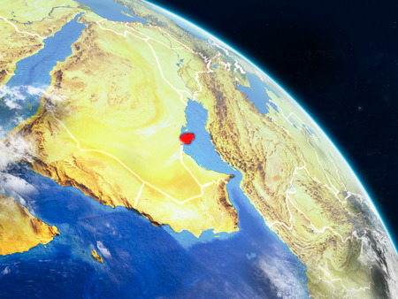 Qatar from space on realistic model of planet Earth with country borders and detailed planet surface and clouds. 3D illustration. Stock Photo