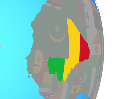 Mali with national flag on simple political globe. 3D illustration.