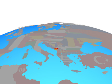 Montenegro with national flag on political globe. 3D illustration.