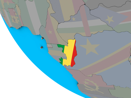 Congo with embedded national flag on simple 3D globe. 3D illustration. Standard-Bild - 112779626