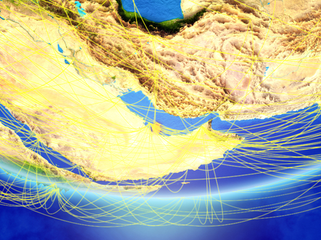 Qatar on model of planet Earth with network representing travel and communication. 3D illustration. Stock Photo