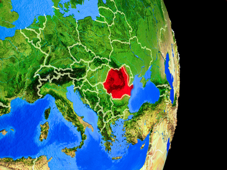 Romania on realistic model of planet Earth with country borders and very detailed planet surface. 3D illustration.