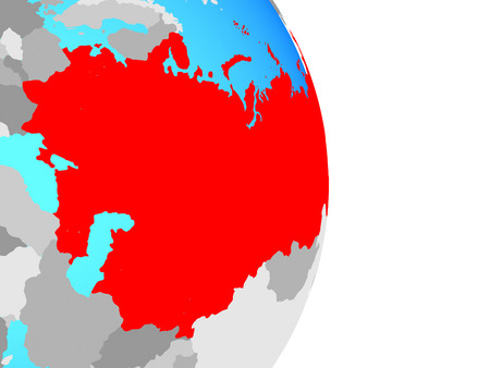 Soviet Union on simple political globe. 3D illustration.