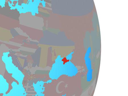 Crimea with national flag on simple political globe. 3D illustration.