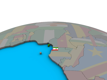 Equatorial Guinea with embedded national flag on political 3D globe. 3D illustration. 版權商用圖片