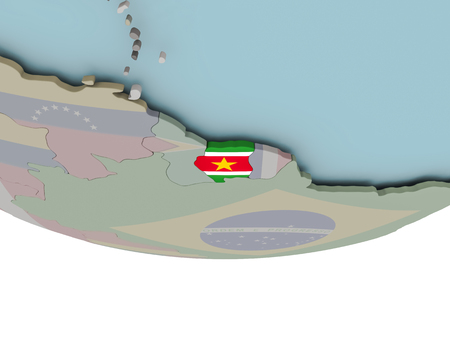 3D illustration of Suriname with embedded flag on political globe. 3D render. Stockfoto