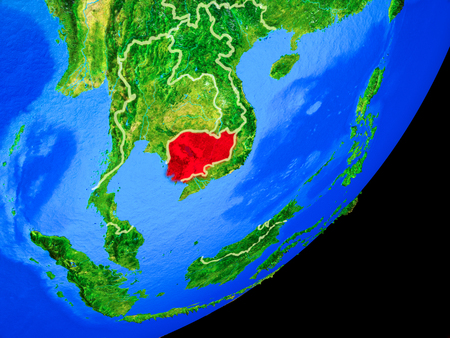 Cambodia on planet Earth with country borders and highly detailed planet surface. 3D illustration. Stock Photo