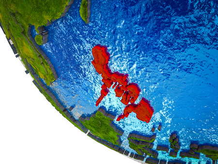 Philippines on model of Earth with country borders and blue oceans with waves. 3D illustration. Stock Photo