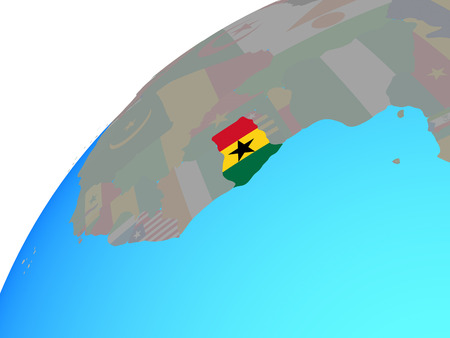 Ghana with embedded national flag on globe. 3D illustration. 스톡 콘텐츠