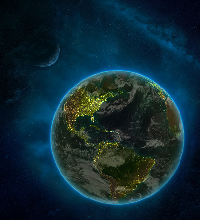 Caribbean from space on Earth at night surrounded by space with Moon and Milky Way. Detailed planet with city lights and clouds. 3D illustration.