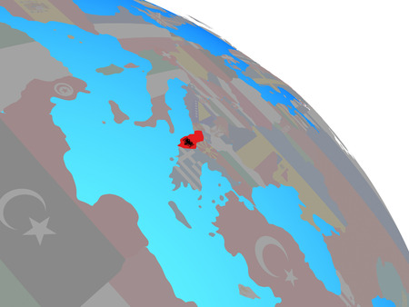 Albania with national flag on simple blue political globe. 3D illustration. Stock Photo