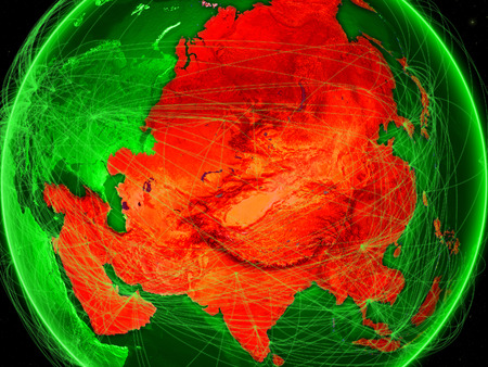 Asia on green Earth in space with networks representing air traffic or telecommunications. 3D illustration. Stock Photo