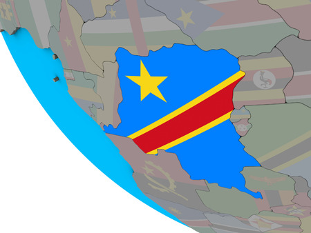 Dem Rep of Congo with embedded national flag on simple 3D globe. 3D illustration.
