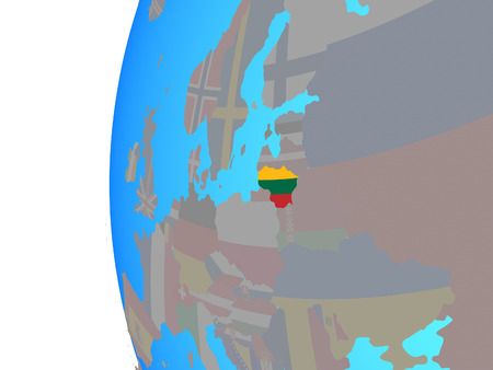 Lithuania with embedded national flag on blue political globe. 3D illustration.