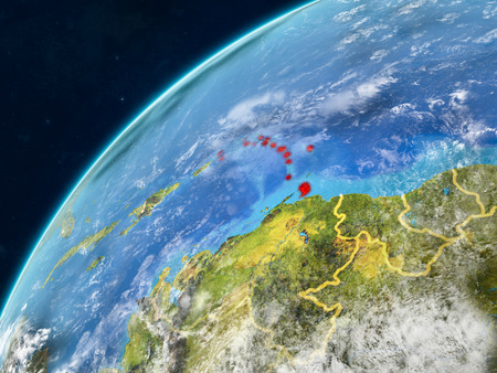 Caribbean on realistic model of planet Earth with country borders and very detailed planet surface and clouds. 3D illustration.