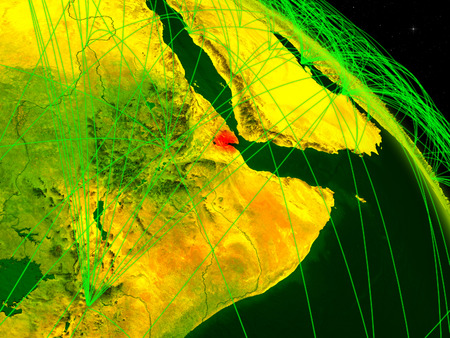 Djibouti from space on model of digital planet Earth with network. Concept of digital technology, connectivity and travel. 3D illustration.