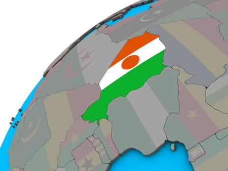 Niger with national flag on 3D globe. 3D illustration.