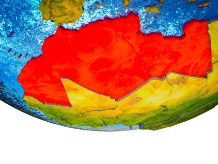 Maghreb region on 3D Earth with divided countries and watery oceans. 3D illustration.