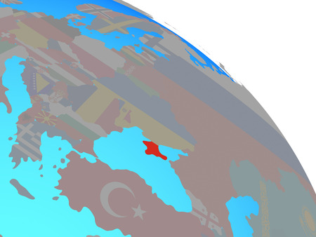 Crimea with national flag on simple blue political globe. 3D illustration.